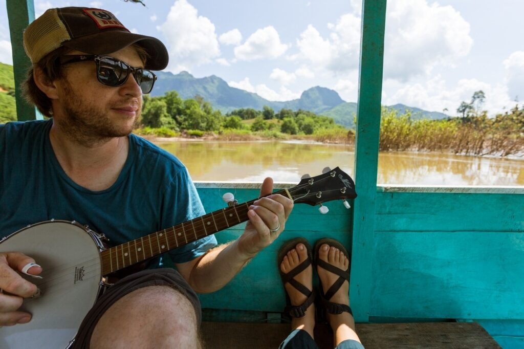 Banjo Boat Ride in Laos